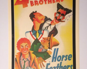 Marx Brothers Horse Feathers Vintage Movie Poster Print Reproduction