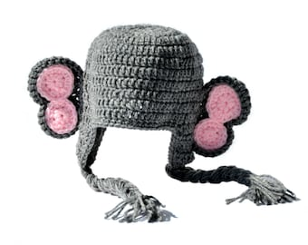Pink Elephant Hat, Crochet Elephant, Baby Girls Crochet Hat, Crochet Baby Hat, Animal Hat, Grey Elephant Baby Ear Hat Toddler Girls Knit Hat