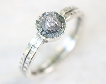 Round gray rough diamond ring in silver bezel setting with sterling silver texture oxidized double band