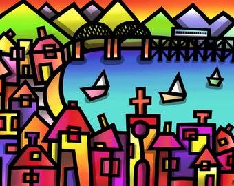 Barmouth Bridge - colourful fine art print by Amanda Hone