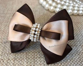 Brown and beige satin bow, beige bow, beige hair bow