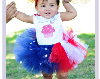 American Flag Tutu Outfit 4th Of July Tutu Dress July 4th Baby Girl Dress Girls Patriotic Outfit Newborn 3 Month 6 Month