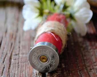 Red Shotgun Shell Boutonniere with Twine