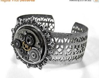 Steampunk Jewelry Cuff Bracelet NIHILIST Silver GRUNGED Watch Adjustable Gears Parts, Mens Womens Rocker Biker PUNK Cuff -  by edmdesigns