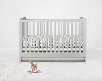 Bear in Gold Blue Bedding Set. Baby Bedding. Bear Baby Bedding. Bear Crib Sheet. 2 Piece Set - Fitted Crib Sheet, Crib Skirt.