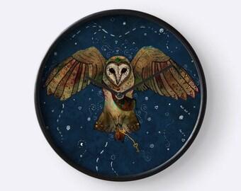 Healers Of Light, Barn Owl Clock, Animal Wall Clock, Bird Clock, Whimsical Clock, Totem Animal, Spirit Animal, Magic, Fantasy, Celtic, Owls