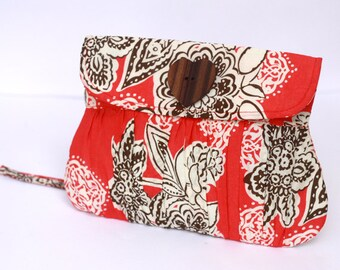 Wristlet, Pleated Wristlet In Coral and Brown Flower with Heart Shaped Wooden Button