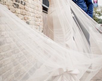 Bridal Tulle Veil, Cathedral Length, Champagne, Lace appliques
