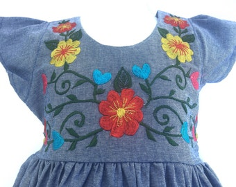 Mexican Baby Dress Denim with Floral Design Embroidery from Yucatan Mexico