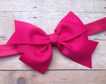 Fuchsia baby headband - baby headbands, baby bow headband, newborn headband, pink baby headband, pink bow headband, bow headband, baby bows