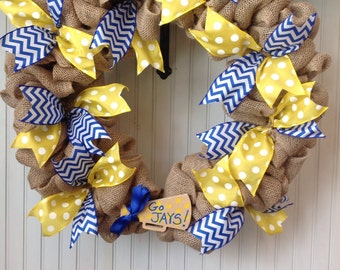 Cheerleading wreath, burlap cheer wreath, cheer wreath with custom megaphone, team colors wreath, school colors wreath, cheerleading decor