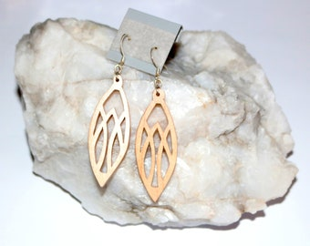 Handmade Wooden dangle earrings.