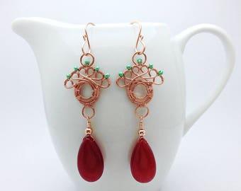 Red Jade Earrings, Long Dangle Earrings, Statement Earrings, Copper Earrings, Wire Wrap Jade Gemstone Jewelry, Copper Jewelry, Long Earrings