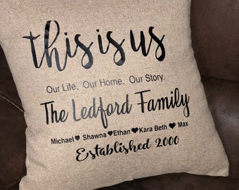 Personalized throw pillow with burlap cover, customzied throw pillow