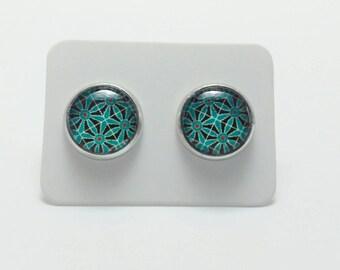 Teal flower stainless steel stud earrings - 10mm flower mosaic post earrings