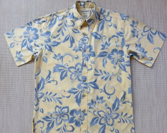 Hawaiian Shirt Men COOKE STREET Copyrighted Hibiscus Floral Reverse Print Surfer Aloha Shirt 100% Cotton Camp - M - Oahu Lew's Shirt Shack