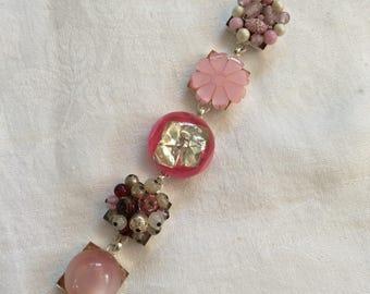 Vintage Repurposed Bracelet - Pink