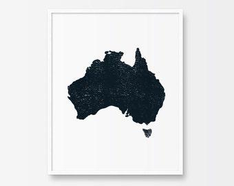 Map Art, Map Art Print, Printable Art, Black and White Print, Minimalist Art, Ink, Minimalist Print, Map Illustration,  Map of Australia
