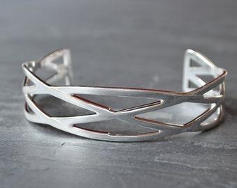 Geometric Silver Minimalist Cuff - Silver Braided Weave Minimal Bracelet - Celtic Viking Style Jewelry - Tribal Cross Cuff