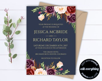 Navy Blue Floral Wedding Invitation Template Wedding Invitations Printable Invitation Suite Floral Invitation Set Floral Invitation
