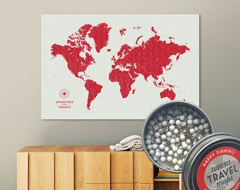 Vintage Push Pin Map (Siren) Push Pin World Map Pin Board World Travel Map on Canvas Push Pin Travel Map Personalized Gift for Family