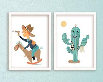 Set of 2 Boy Nursery Wall Art, wild west print, Cactus Print, Baby Boy Nursery, Nursery Wall Art, Boy's Room Decor, Gender Neutral,