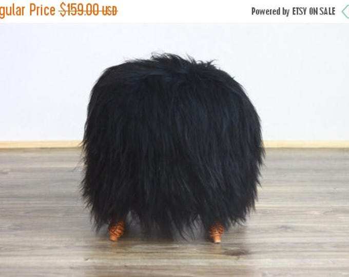 ON SALE WOW! Exclusive Luxury Beautiful Unique Natural, Real icelandic Sheepskin Stool, bench, chair  cover soft, long fur black