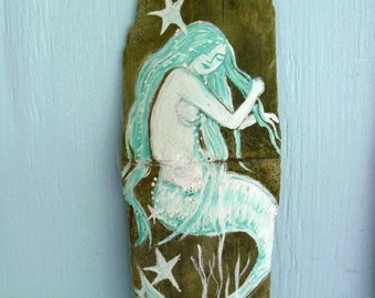 Aqua Mermaid Painting on Recycled Drift Wood-Wall Decor- mermaid art- Fantasy mermaid- coastal decor