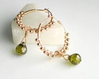 Gold Filled Hoop Earrings Cubic Zirconia Dangles, Handmade Ornate GF Hoops, Olive Green CZ Gems, Deluxe Gift For Her