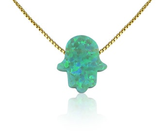Green Opal Necklace on a Gold Plated Sterling Silver Chain • Safe to get Wet • Best Online Price • Green Opal Gift For Her
