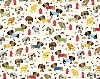 Fabric patchwork fabric pet, dog fabric by Riley Blake coupon cream