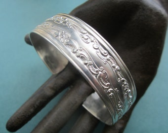 Vintage 70'S Silver Plated Steel Ornate Cuff Bracelet 1 Pc.