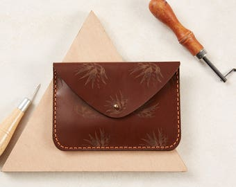 Brown Leather Purse  Hand Drawn Design  Illustrated Purse  Plant Print  Clutch Purse  Everyday Purse  Evening Purse  Gifts For Her
