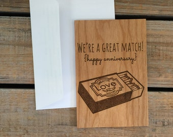Anniversary Card, Valentine's Day Card, Wood Card, Real Wood Card- We're A Great match,Happy Anniversary or Valentine's Day Card, Funny Card