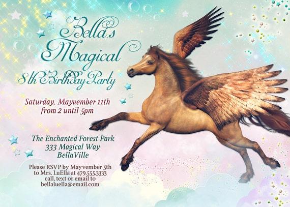 Exceptionnel Pégase cheval Birthday Party Invitation Pegasus Invitations US13