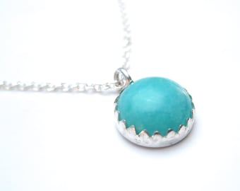Amazonite Necklace Silver and Light Blue Green in Color