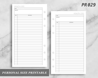 Personal Size Printable Health Log Sickness Tracker Wellness Digital Download PR029