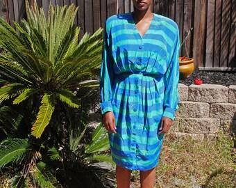 Vintage Blue Green Striped Midi Sundress