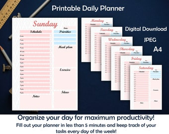 Daily planner ~ Day planner ~ Printable planner ~ Printables ~ Schedule ~ Productivity planner ~Pink~ 7 days~ Organize ~ Instant download