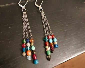 Multicolored bead dangle earrings, waterfall earrings, beaded dangle earrings, colorful long earrings