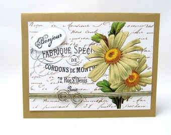 Yellow Daisy Card - French Vintage Card - Brown and White Card - Floral Card - Vintage Style Card - Blank Card - Bonjour