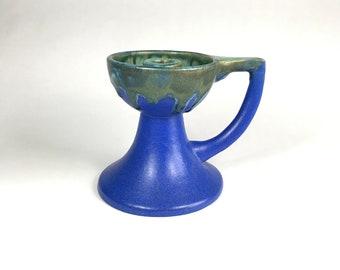 Fulper Candle Holder in Green Over Blue Glaze