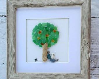 Pebble art tree, pebble art nature, sea glass art, home decor, wall art, unique wall art, 3 d art, birthday gift, housewarming