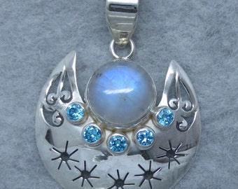 Rainbow Moonstone Moon and Star Pendant - Sterling Silver - Fancy-Dancy Jewelry - Free Shipping to the USA
