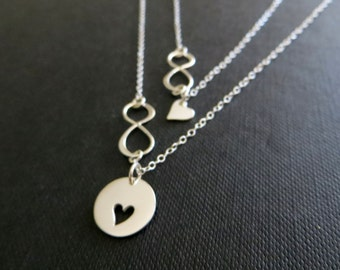 Mother and daughter infinity necklace, gift for mom, mother daughter jewelry, silver cutout heart necklace, mother child, infinite love