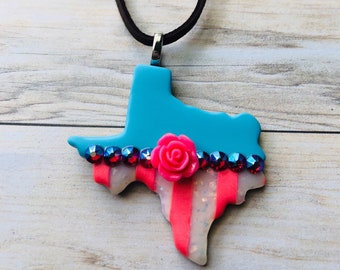 Texas Jewelry, Texas Polymer Clay Flower Pendant-Blue/Coral/White