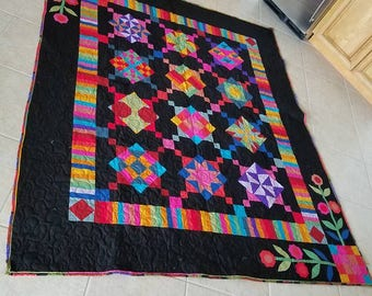 "81"" x 99""  Handmade Quilt,  pieced, and applique. Multi-color accents"