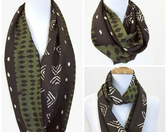 Tribal Style infinity scarf - Gift idea - Hand crafted Loop Scarf - Brown and Green