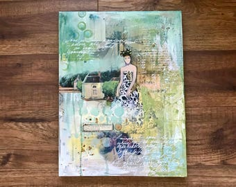 Mixed Media Collage, Original Art, Collage Art, Adore, Queen