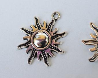 Sun Charm Pendant Silver